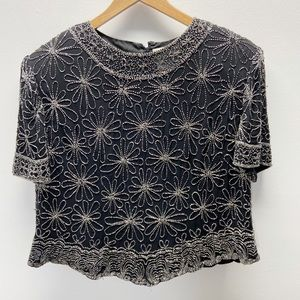 VTG Papell Boutique Evening Silk Beaded Top